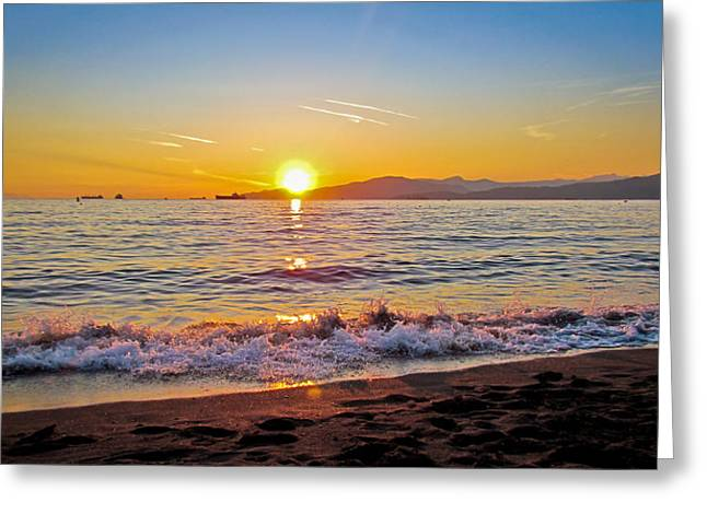 English Bay - Beach Sunset Greeting Card by Eva Kondzialkiewicz