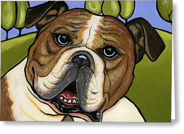 English Bull Dog Greeting Card by Leanne Wilkes