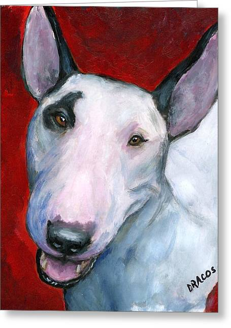 English Bull Terrier Looking Up On Red Greeting Card