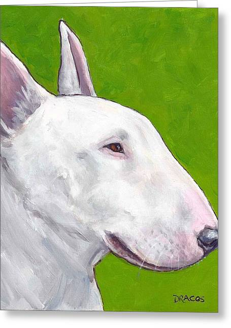 English Bull Terrier Profile On Green Greeting Card by Dottie Dracos