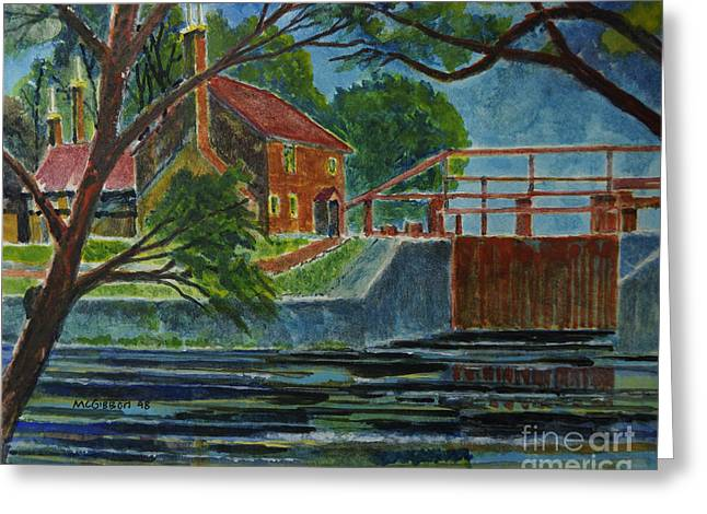 English Canal Lock Greeting Card by Donald McGibbon