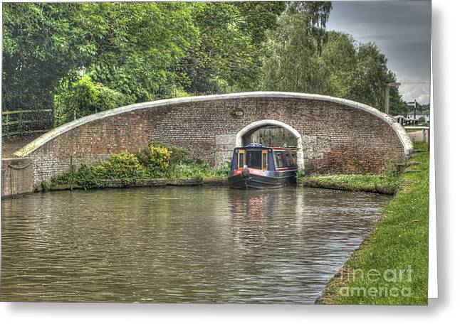 English Canal Scene Greeting Card by Steev Stamford