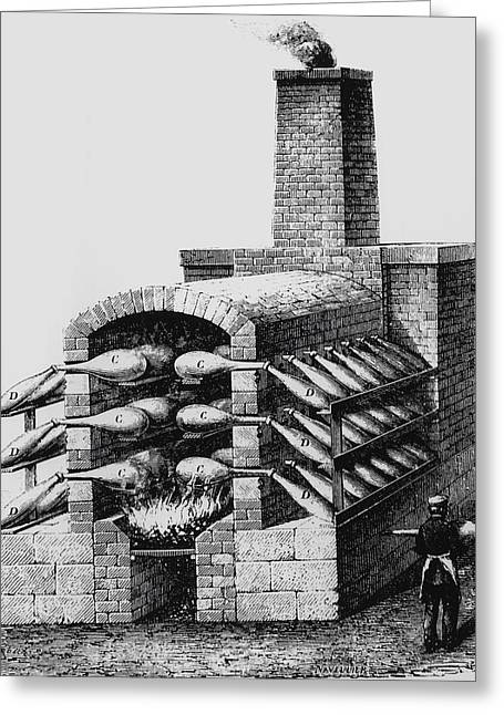 Engraving Of Early Kiln For Making Sulphuric Acid Greeting Card by