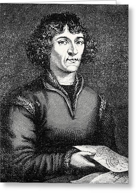 Engraving Of Nicolas Copernicus, Polish Astronomer Greeting Card by Dr Jeremy Burgess