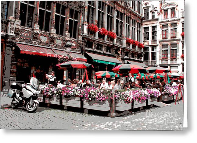 Enjoying The Grand Place Greeting Card by Carol Groenen