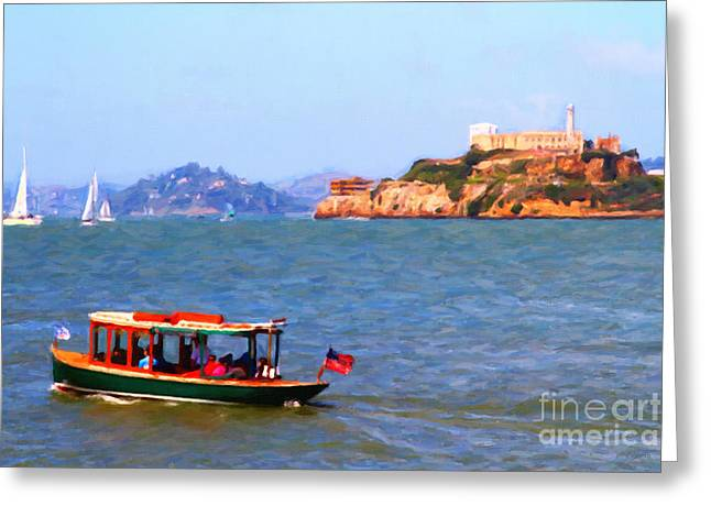 Enjoying The San Francisco Bay With Alcatraz Island In The Distance . 7d14323 Greeting Card by Wingsdomain Art and Photography