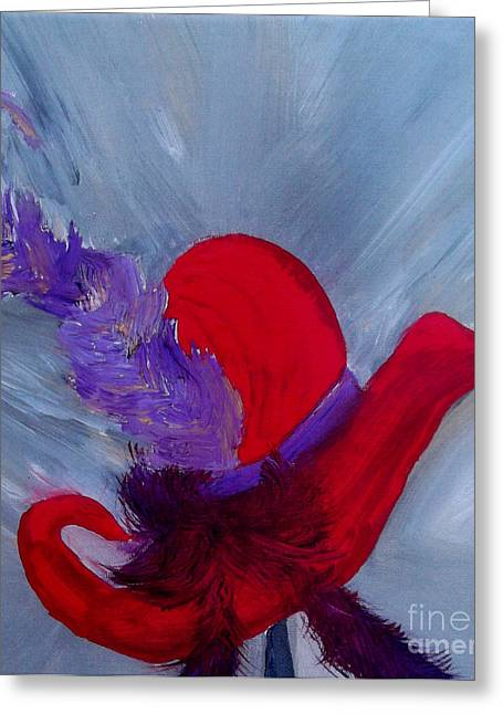 Ensemble Chapeau Rouge Greeting Card by Ayasha Loya