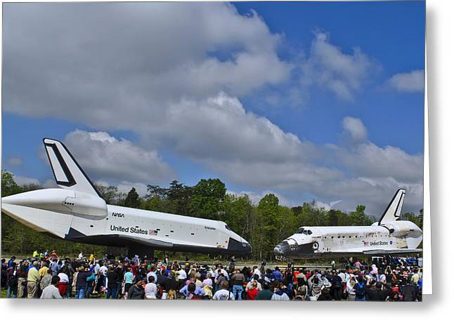 Enterprise And Discovery Greeting Card by Lawrence Ott