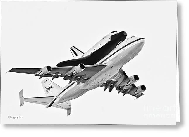 Enterprise Shuttle Ny Flyover Greeting Card by Regina Geoghan
