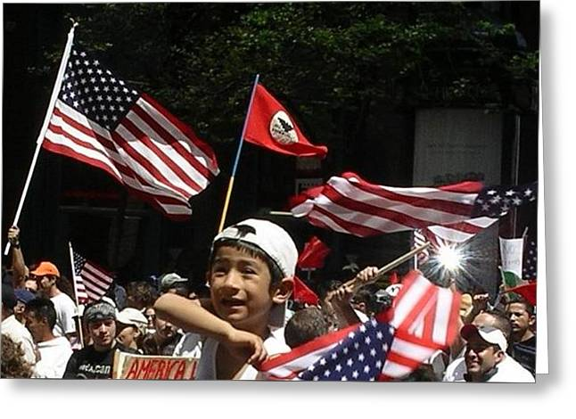 Enthusiastic Patriotism Greeting Card