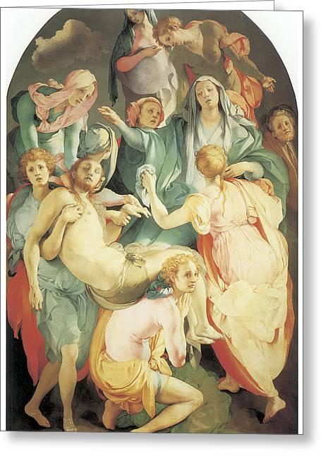 Entombment Greeting Card by Jacopo Da Pontormo