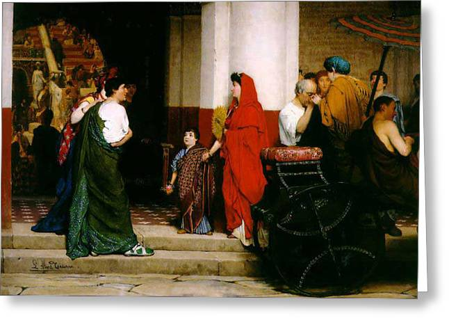 Entrance To A Roman Theatre Greeting Card by Sir Lawrence Alma-Tadema