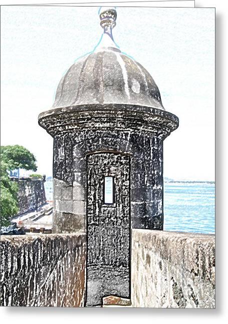 Entrance To Sentry Tower Castillo San Felipe Del Morro Fortress San Juan Puerto Rico Colored Pencil Greeting Card by Shawn O'Brien