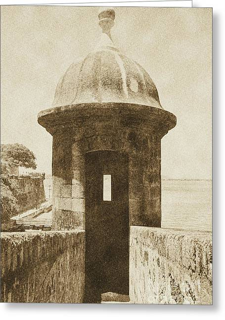 Entrance To Sentry Tower Castillo San Felipe Del Morro Fortress San Juan Puerto Rico Vintage Greeting Card by Shawn O'Brien