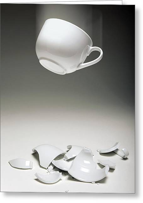 Entropy Shown By Broken Cup Greeting Card