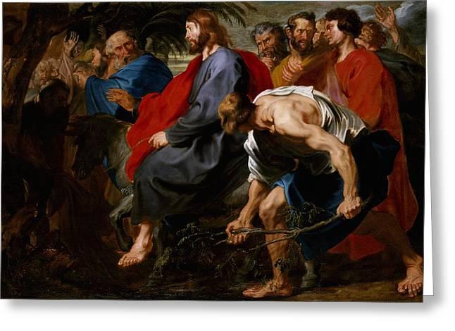 Entry Of Christ Into Jerusalem Greeting Card