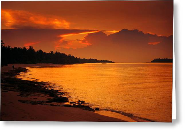 Epic Sunset In The Tropical Maldivian Island Greeting Card by Jenny Rainbow