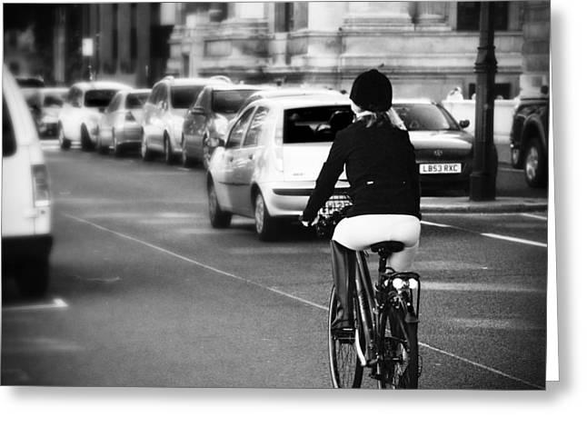 Equestrian Bike Rider Greeting Card by David Waldo