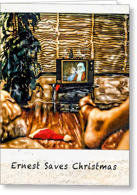 Greeting Card featuring the photograph Ernest Saves Christmas by Lou  Novick