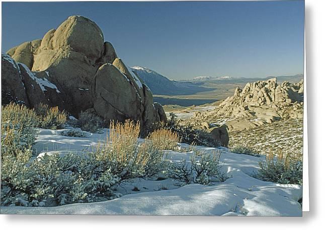 Eroded Granite Boulders Overlook Owens Greeting Card
