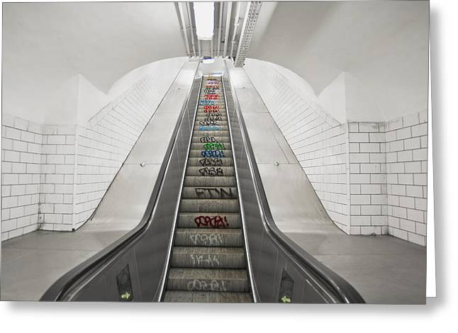 Escalator Down To An Underground Metro Greeting Card by Marlene Ford