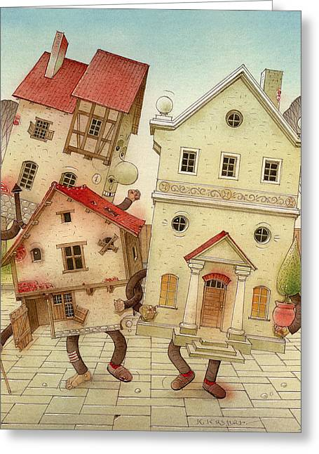 Escaped Houses Greeting Card by Kestutis Kasparavicius