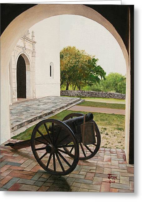 Greeting Card featuring the painting Espiritu Santo Mission Cannon by Jimmie Bartlett