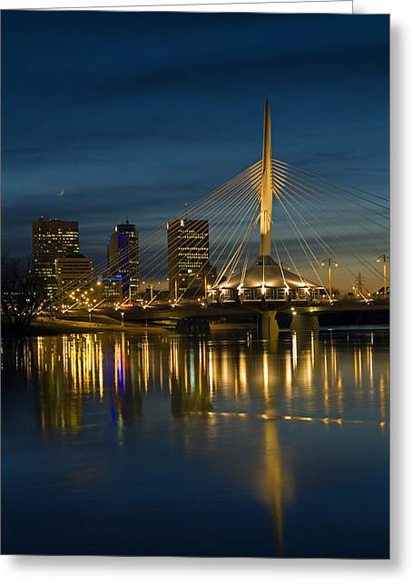 Esplanade Bridge Over Red River Greeting Card by Mike Grandmailson