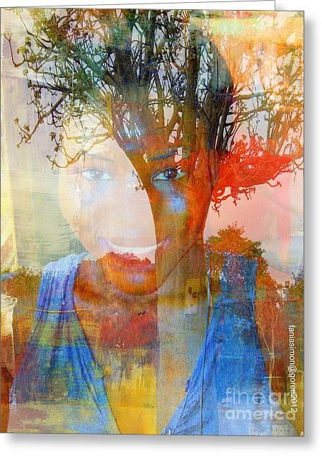 Esprit Du Baobab Greeting Card by Fania Simon