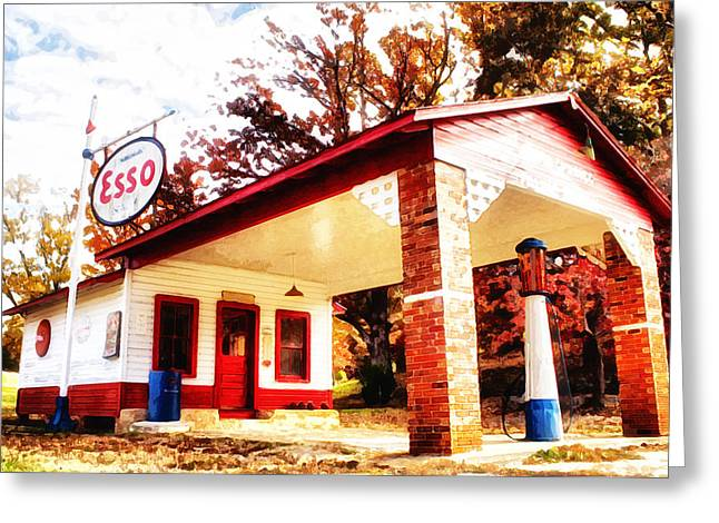 Esso Filling Station Greeting Card by Lynne Jenkins