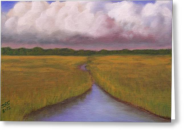Greeting Card featuring the painting Estuary Storm by Janet Greer Sammons