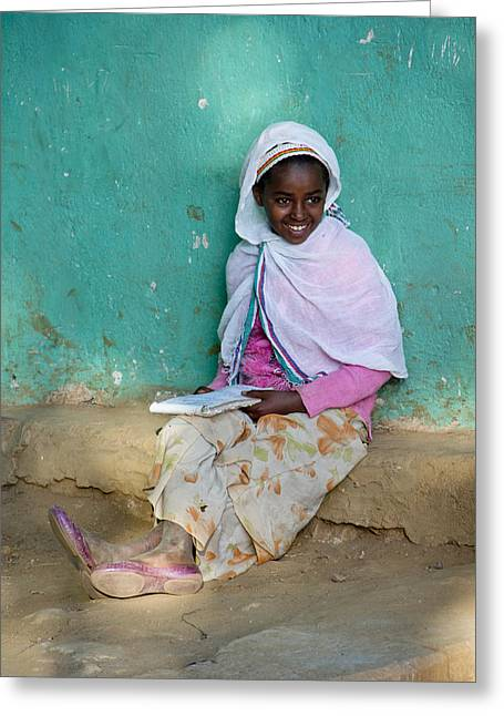Ethiopia-south School Girl Greeting Card by Robert SORENSEN