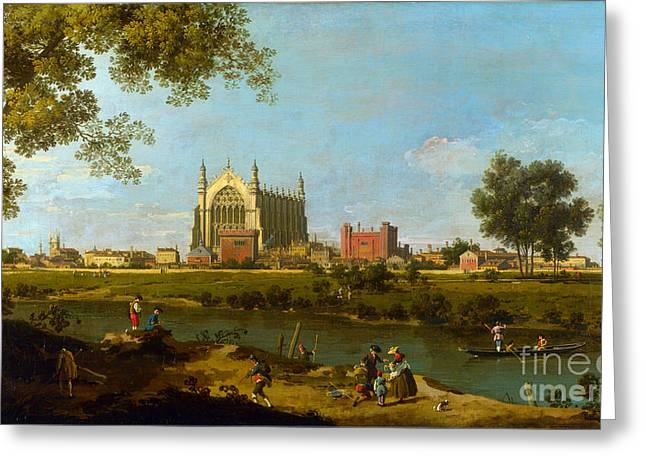 Eton College By Giovanni Antonio Canaletto Greeting Card by Pg Reproductions