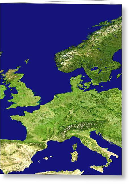 Europe, Satellite Image Greeting Card