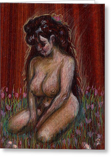 Eve In Her Garden Greeting Card by Mani Price