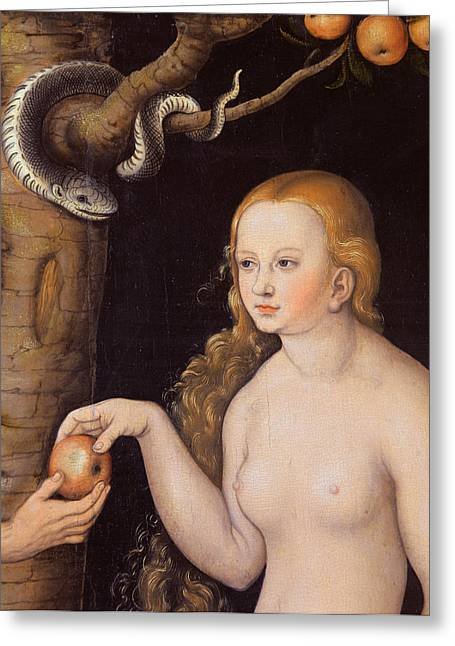 Eve Offering The Apple To Adam In The Garden Of Eden And The Serpent Greeting Card by Cranach
