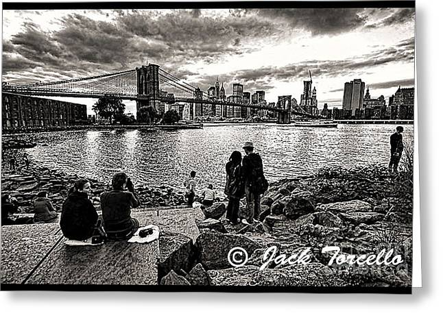 Greeting Card featuring the photograph Evening At Brooklyn Bridge by Jack Torcello