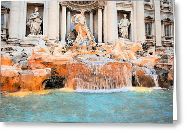 Evening At Trevi Fountain Greeting Card by