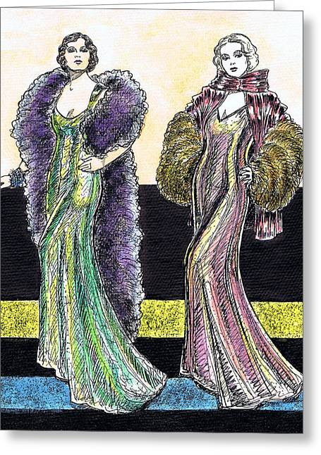 Evening Gowns Greeting Card by Mel Thompson