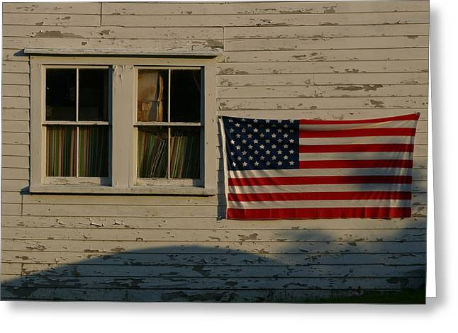 Evening Light On An American Flag Greeting Card