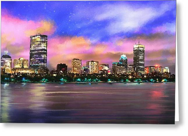 Evening Lights Greeting Card by Robert Smith
