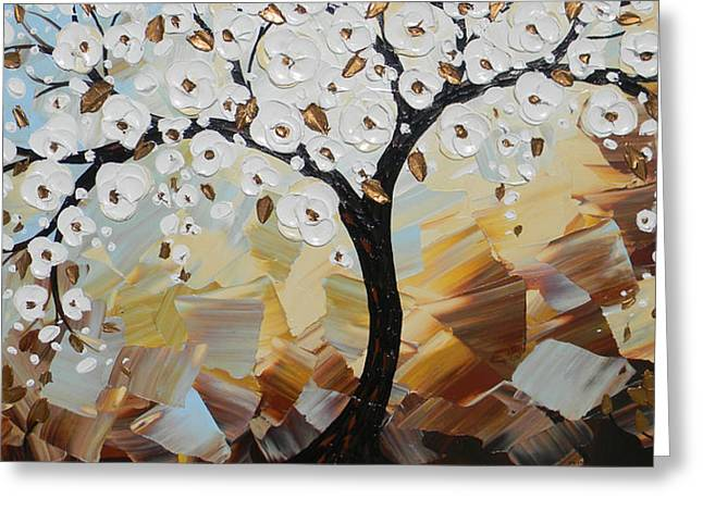 Evening Peace White Blossoming Tree Of Life Greeting Card by Christine Krainock