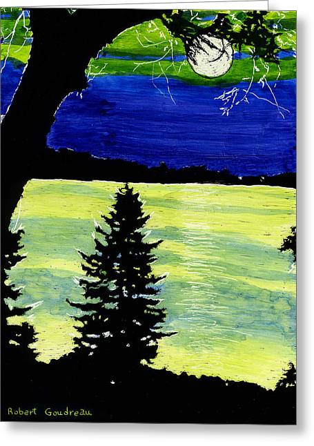 Evening Pine Greeting Card by Robert Goudreau