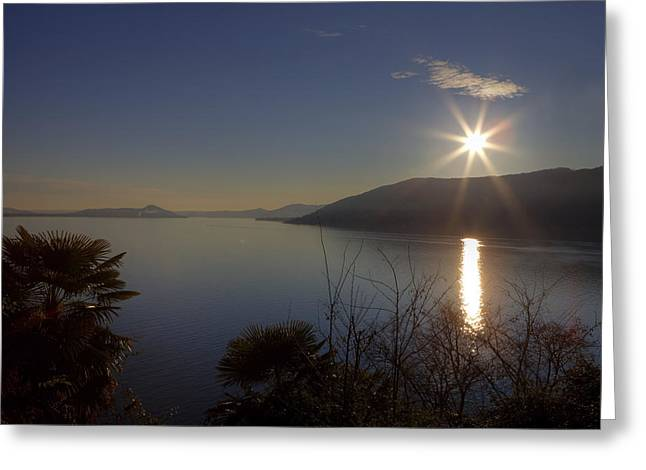 evening sun over the Lake Maggiore Greeting Card by Joana Kruse