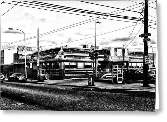 Everybody Goes To Melrose - The Melrose Diner - Philadelphia Greeting Card by Bill Cannon