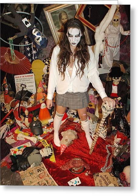 Evil Schoolgirl - Gone Amuck Greeting Card