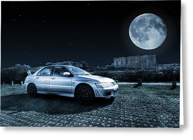 Greeting Card featuring the photograph Evo 7 At Night by Steve Purnell