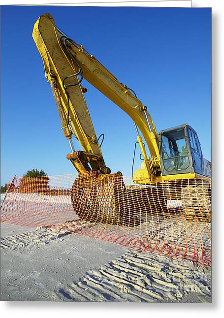 Excavator On The Beach Greeting Card by Skip Nall