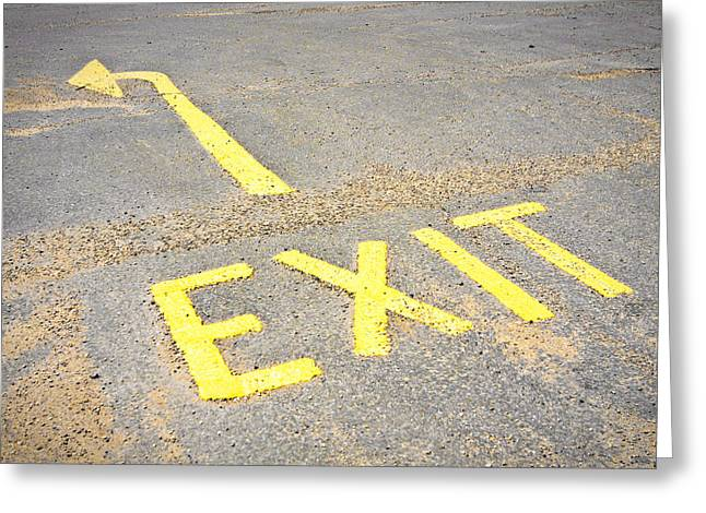 Exit Sign Greeting Card by Tom Gowanlock