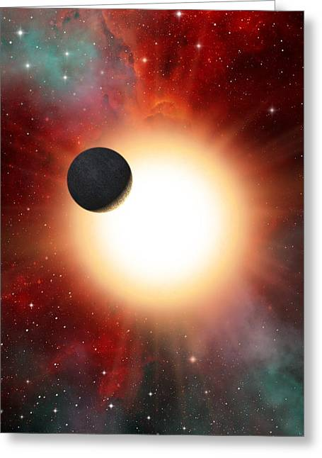 Exoplanet And Parent Star, Artwork Greeting Card by David Ducros